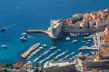 View of the old town and harbor in Dubrovnik