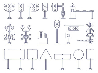 Outline Set of Traffic Vector Cartoon Illustration. Railway and road Traffic Light. Semaphore. Cartoon