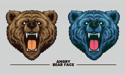 bear face angry design art