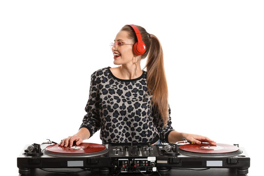 Female dj playing music on white background