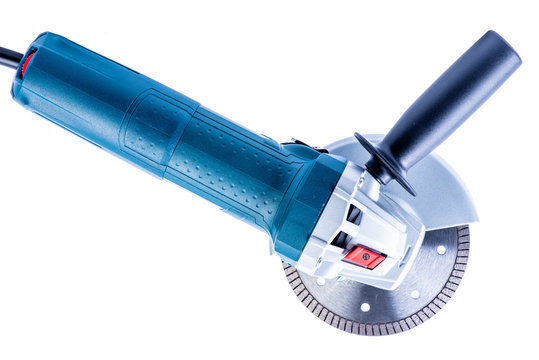 Electric angle grinder isolated on white background