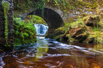 Lush River under the bridge at Torc Waterfall in Killarney National Park, County Kerry, Ireland