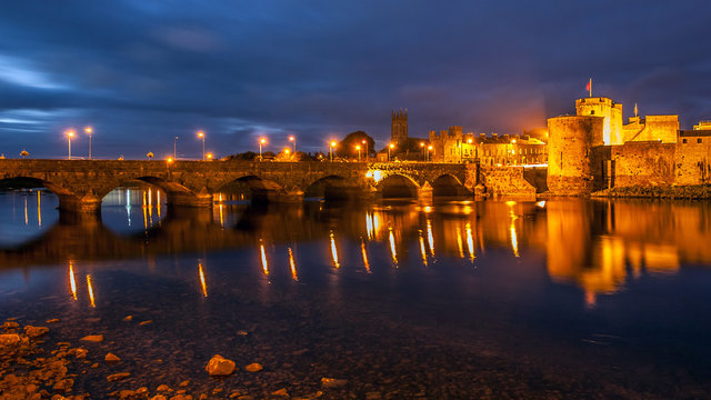 Bridge across the Shannon river leading to King John's Castle in Limerick City, Ireland