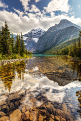 Scenic reflection of Mount Edith Cavell in Jasper National Park, Rocky mountains of Alberta, Canada