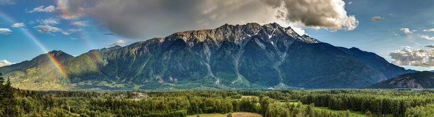 Pemberton Valley Panoramic view with towering mount Currie in Summer
