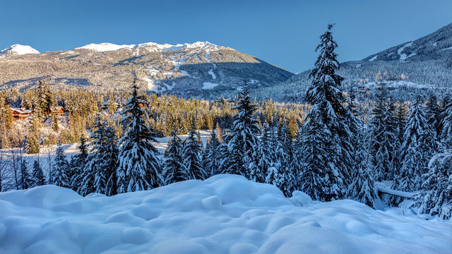 Blackcomb Mountain from Snowy Whistler Village in Winter