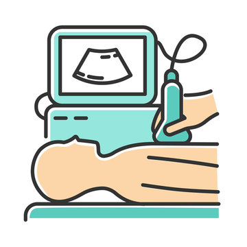 Ultrasound diagnostics color icon. Ultrasonography. Medical procedure. Healthcare services. Patient chest examination. Disease treatment. Professional clinical diagnosis. Isolated vector illustration
