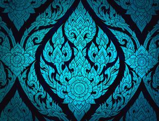 Closeup Thai pattern carving lotus picture at door in temple