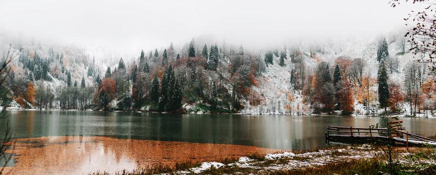 Soft autumn landscape view of Karagol (Black lake) a popular destination for tourists,locals,campers and travelers in Eastern Black Sea,Savsat, Artvin, Turkey