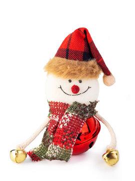 Christmas snowman on white background.