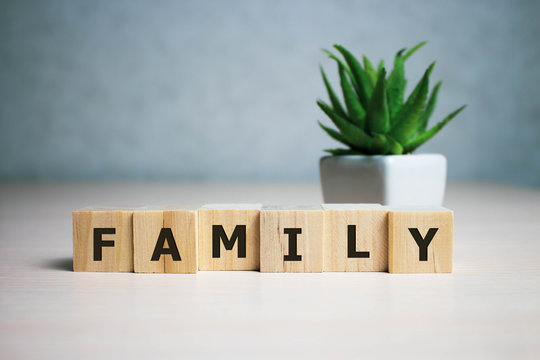 Stock photo family word on a wooden blocks