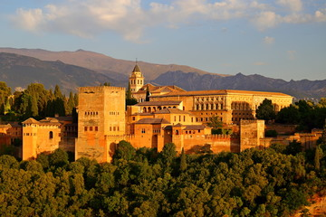 Canvas Prints Athens view of Alhambra Andalusia, Spain, viewed from city of Granada.