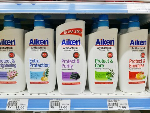 Bahau , Malaysia -26 September 2017 : View of Aiken antibacterial shower creme display on the shelf in supermarket
