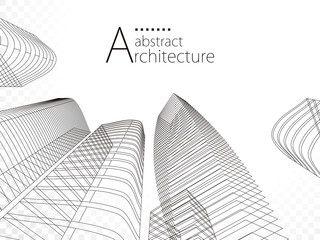 3D illustration linear drawing, architecture urban building design, architecture modern abstract background.