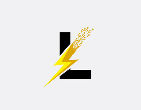 Flash L Letter Logo, Electrical Bolt Technology Logo Icon