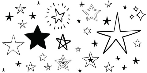 Stars doodle set. Hand drawn star sketch illustrations. Vector collection.