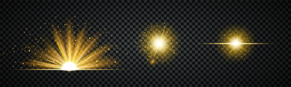 Three different burst or flash effect bright golden lights isolated on a black background with explosive emanating sparks for design elements, vector illustration light effects