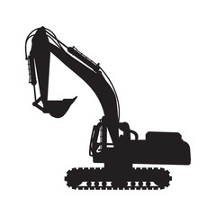 Graphic silhouette backhoe, vector