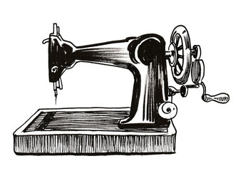 Old sewing machine. Ink black and white drawing