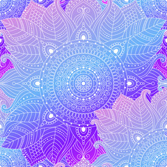 Seamless boho arabesque pattern. Laced decorative floral background with gradient leaves, mandala. Gypsy, ethnic design in vector, Indian or Arabic motifs.