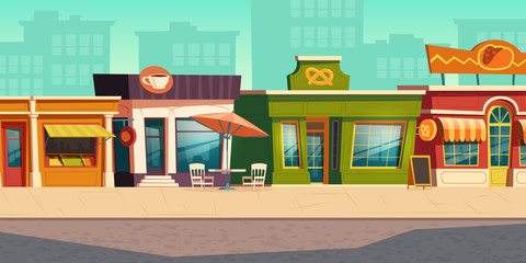 Urban street landscape with small shops and residential buildings in background, cartoon vector. Cityscape with pavement, facades of cafes, restaurant and bakeries, town poster