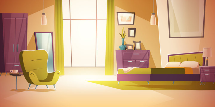 Bedroom interior cartoon vector illustration. Comfortable living room interior with double bed, wardrobe, mirror and nightstand with lamp, cozy house inside, apartment with furniture background