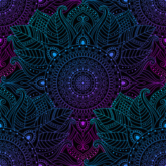 Stores à enrouleur Style Boho Seamless oriental arabesque pattern. Laced decorative floral pattern with circular ornament, gradient mandala on black background. Mosaic tiles boho, ethnic design in vector, Indian or Arabic motifs.
