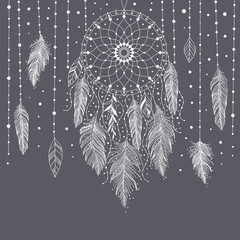 Gray and white hand drawn dreamcatcher with floral details and feathers, vector illustration, can be used for boho art design invitation, postcard.