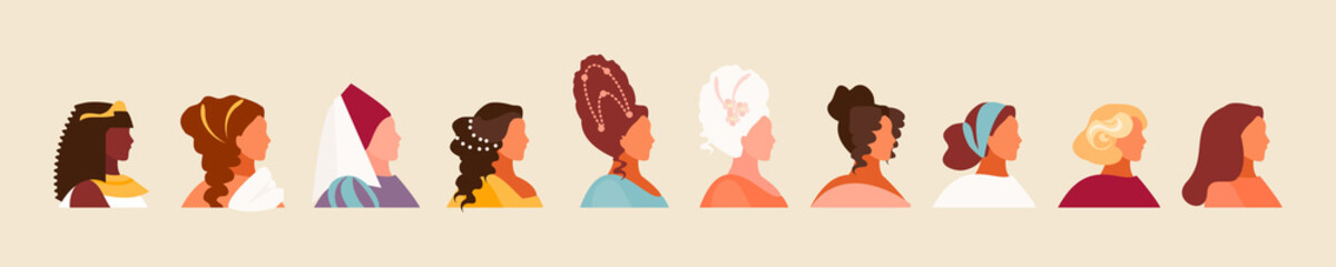 History and evolution of hairstyles. Set of female characters, fashion development. Vector illustration