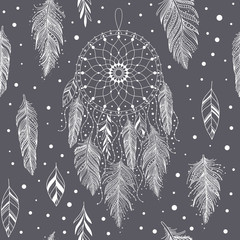 Gray and white hand drawn dreamcatchers and feathers, and leaves, seamless pattern in boho ethnic style, vector background, can be used for fabric, wallpaper