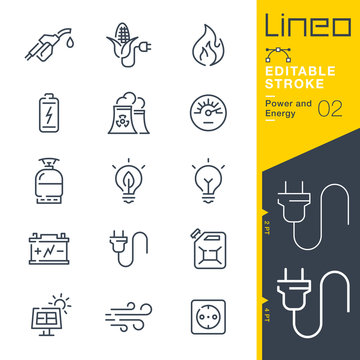 Lineo Editable Stroke - Power and Energy line icons