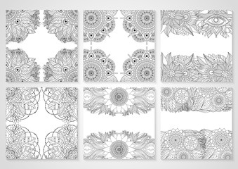 Set of cards with ethnic floral lace pattern with mandala and abstract patterns. Boho design. Black and white oriental Asian Indian ornaments borders, frames, contour. Vector art.