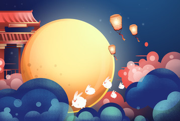 The Mid-Autumn festival illustrations