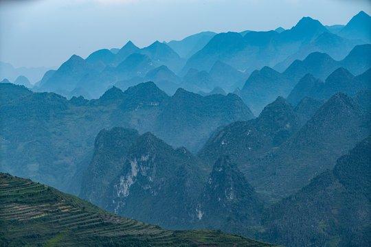 Aerial shot of a summit in Vietnam