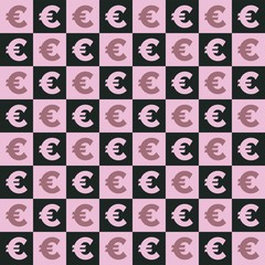 Photo sur Aluminium Art abstrait seamless pattern with Euro symbol icon vector.