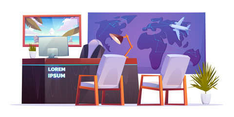 Travel agency office empty interior with desk of consultant on tourism, world map with plane and poster on the wall. Vector cartoon illustration with computer on the table, armchairs and palm in pot