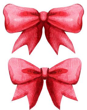 Hand drawn red watercolor ribbon bow
