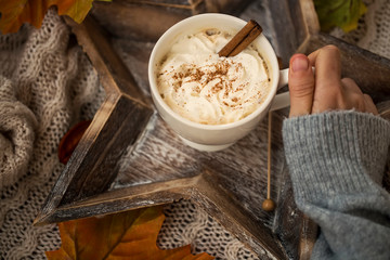 Hot chocolate cup with cream and cinnamon spice