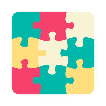 Nine jigsaw pieces or parts connected together.