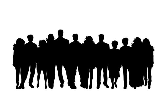 Vector silhouette of group of people on white background. Symbol of girl, boy, man, band, company, woman, set, team, work, anonymous, nameless.