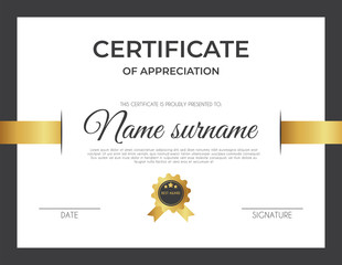 Certificate template with luxury and modern pattern suitable for diploma, conference, and honour. Vector illustration image