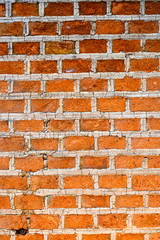 Wall texture of red brick, vertical