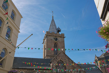 The Town Church is also known as the Parish Church of St Peter Port in Guernsey during Sunny day with blue sky