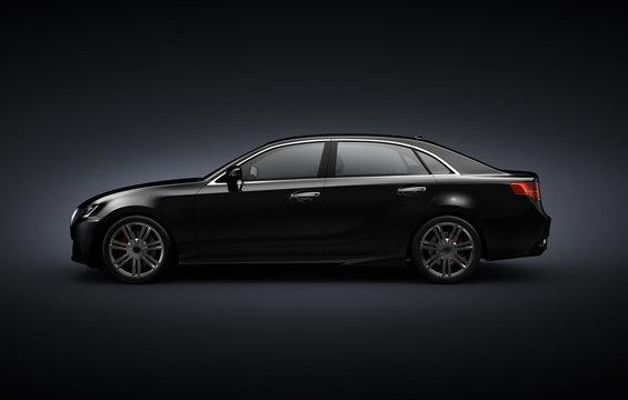 Black sedan car  on black background