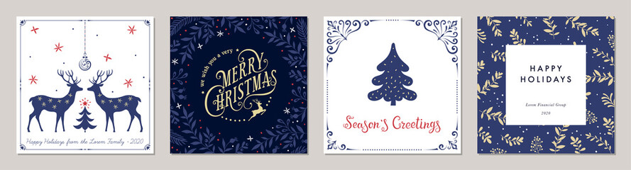 Ornate Merry Christmas greeting cards. Trendy square Winter Holidays art templates. Fototapete