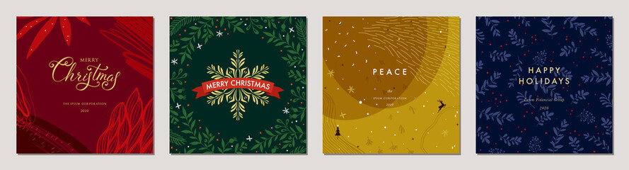 Merry Christmas greeting cards. Trendy abstract square Winter Holidays art templates. Suitable for social media post, mobile apps, banner design and web/internet ads. Fotomurales