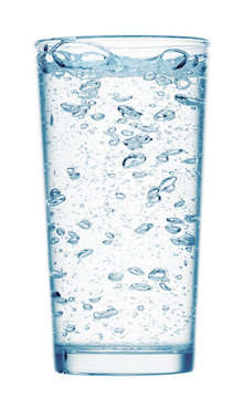 one glass of sparkling water on a white background, isolated object