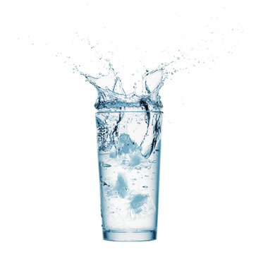 one glass of water with splash from falling ice cube, white background, isolated object
