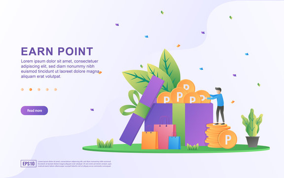 Earn point illustration concept. Loyalty program and get rewards, Customer reward loyalty program, earn bonuses, gift cards. Suitable for web landing page, marketing material, mobile app, web banner.