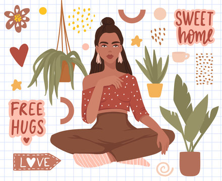 Vector stickers set with beautiful girl, home plants, sweet home hand written text.